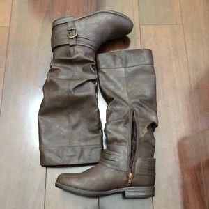 Dark brown faux leather boots